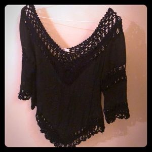 Black ya crocheted top